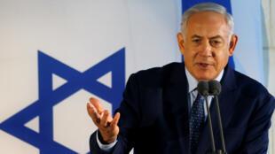 El primer ministro israelí, Benjamín Netanyahu, elogia al exministro de Defensa Moshe Arens durante su funeral en Tel Aviv, Israel, el 8 de enero de 2019.