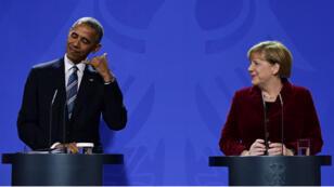 Barck Obama et Angela Merkel, à Berlin, jeudi 17 novembre, durant la tournée européenne d'adieu du président américain.