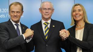 Le futur président du Conseil européen Donald Tusk, le président sortant Herman Van Rompuy et la nouvelle chef de la diplomatie Frederica Mogherini.