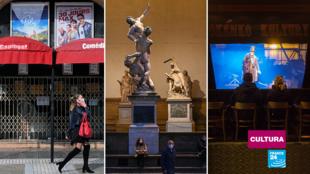 Imágenes del mes de noviembre, con el sector cultural cerrado o semi-cerrado en Montpellier (Francia), Florencia (Italia) y Praga (República Checa), debido a la segunda ola de coronavirus.