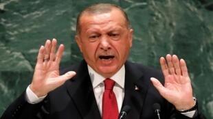 الرئيس التركي أردوغان يلقي كلمة في الجلسة 74 للجمعية العامة للأمم المتحدة، نيويورك، 24 سبتمبر/ أيلول 2019