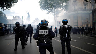Officers pictured during a protest against police brutality in Paris on June 13, 2020.