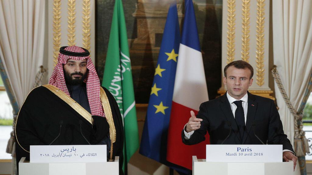 El presidente francés Emmanuel Macron en conferencia de prensa con el principe heredero de Arabia Saudita en la que se refirió a un posible bombardeo de Francia en Siria