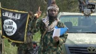 Abubakar Shekau s'exprime dans une vidéo de propagande diffusée le 12 mai 2014 par Boko Haram.