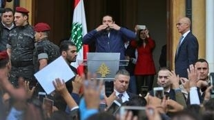 رئيس الحكومة اللبنانية سعد الحريري يلقي كلمة أمام أنصاره في بيروت في 22 نوفمبر 2017