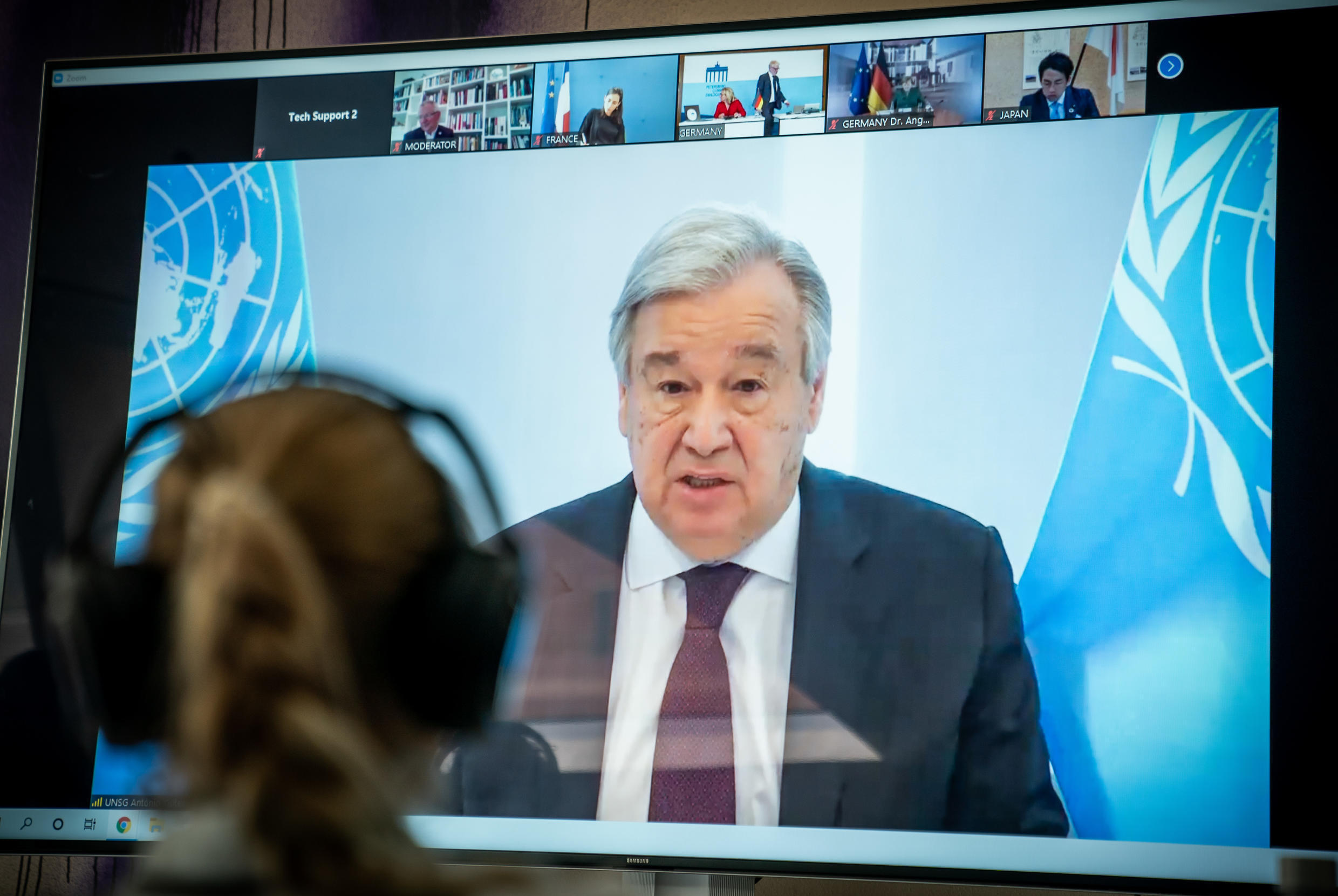 """United Nations Secretary-General Antonio Guterres, shown in this April 2020 photo, said the coronavirus has bared """"severe and systemic inequalities"""" and world leaders need to acknowledge the value of global cooperation"""