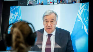 "United Nations Secretary-General Antonio Guterres, shown in this April 2020 photo, said the coronavirus has bared ""severe and systemic inequalities"" and world leaders need to acknowledge the value of global cooperation"
