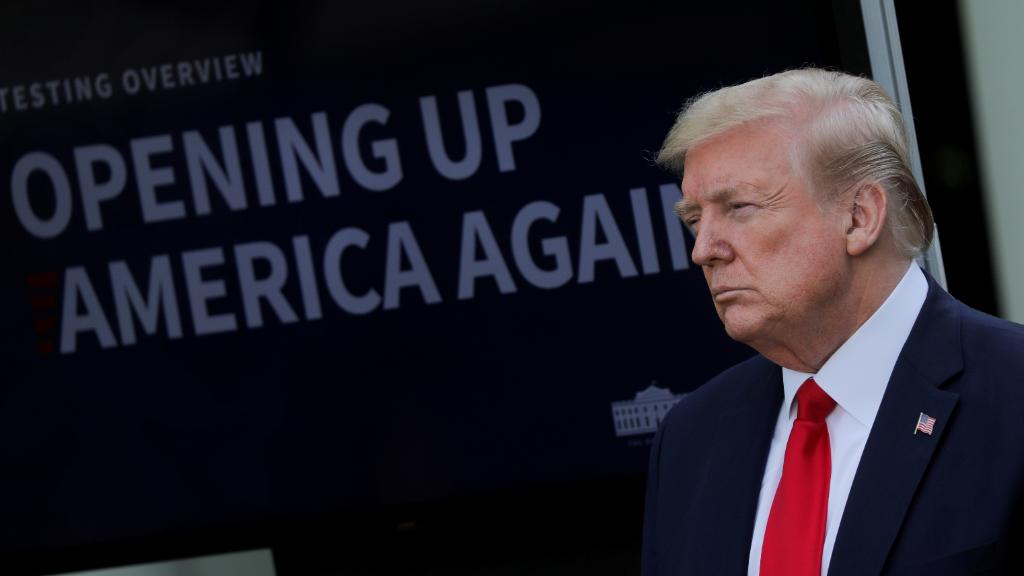 Imagen de Donald Trump antes de su conferencia de prensa desde la Casa Blanca.