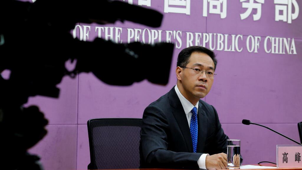 El portavoz del Ministerio de Comercio de China, Gao Feng, durante una conferencia de prensa en el Ministerio de Comercio de Pekín, China, el 19 de junio de 2018.