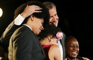 Bill de Blasio with son Dante, daughter Chiara and wife Chirlane McCray (Photo: AFP)