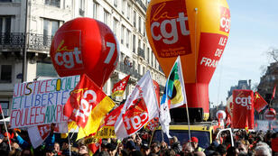 Rojo y amarillo, los colores de la manifestación que hubo en la capital francesa este 5 de febrero de 2019.