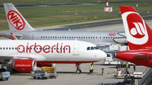 Des avions de la compagnie aérienne en difficulté Air Berlin.