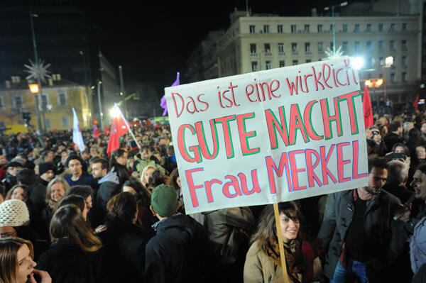 """""""This a real good night, Frau Merkel"""": Greek voters hold a message for the German chancellor after January's snap election saw the anti-austerity Syriza party sweep to power."""