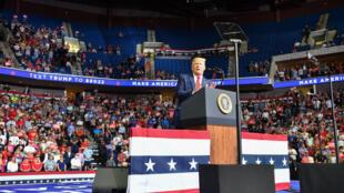 صورة مؤرخة في 20 حزيران/يونيو 2020 لدونالد ترامب خلال تجمع انتخابي في أوكلاهوما
