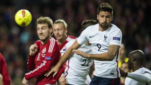 Olivier Giroud a signé un doublé contre le Danemark, en match amical le 11 octobre à Copenhague.