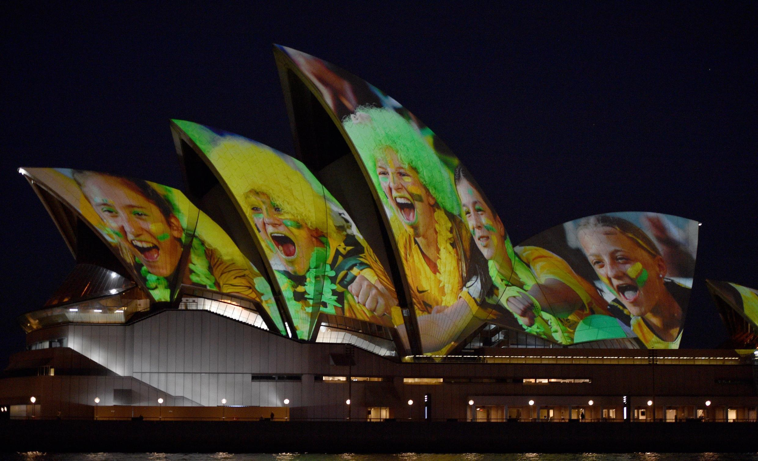 Sydney Opera House is lit up in celebration of Australia and New Zealand's joint bid to host the FIFA Women's World Cup 2023