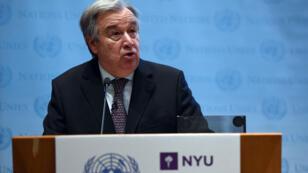 Le secrétaire général de l'ONU Antonio Guterres à la New York University, le 30 mai 2017.