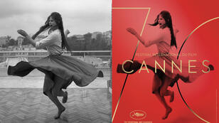 "La photo ""Dancing On the Terrace III"" avec Claudia Cardinale prise en 1959, et l'affiche du festival de Cannes 2017."