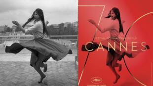 """La photo """"Dancing On the Terrace III"""" avec Claudia Cardinale prise en 1959, et l'affiche du festival de Cannes 2017."""