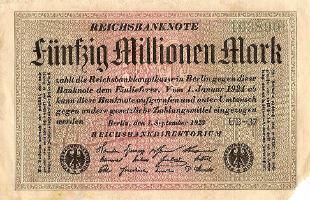 Un billet de banque allemand de 1923 qui valait 50 millions de mark. L'inflation galopante en Allemagne dans les années 1920 est, en partie, due aux dettes accumulées par le pays.