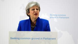 رئيسة الوزراء البريطانية تيريزا ماي في خطاب حول بريكسيت بلندن، 21 مايو/أيار 2019.