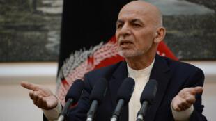Ashraf Ghani lors d'une conférence dans le palais présidentiel de Kaboul, le 30 juin 2018.
