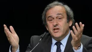 Le président de l'UEFA Michel Platini lors d'une conférence de presse, le 28 mai 2015 à Zurich.