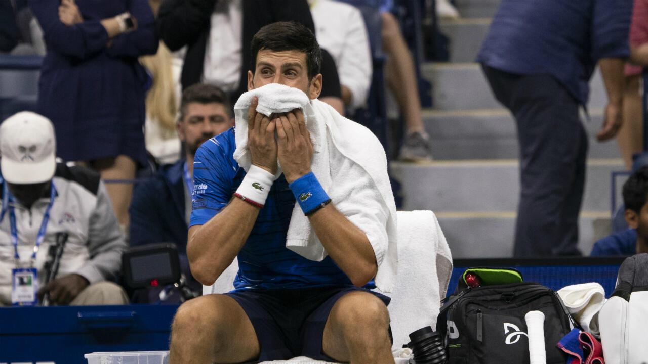 Le Serbe Novak Djokovic lors du 8e de finale contre Stan Wawrinka, le 1er septembre 2019 à l'US Open.