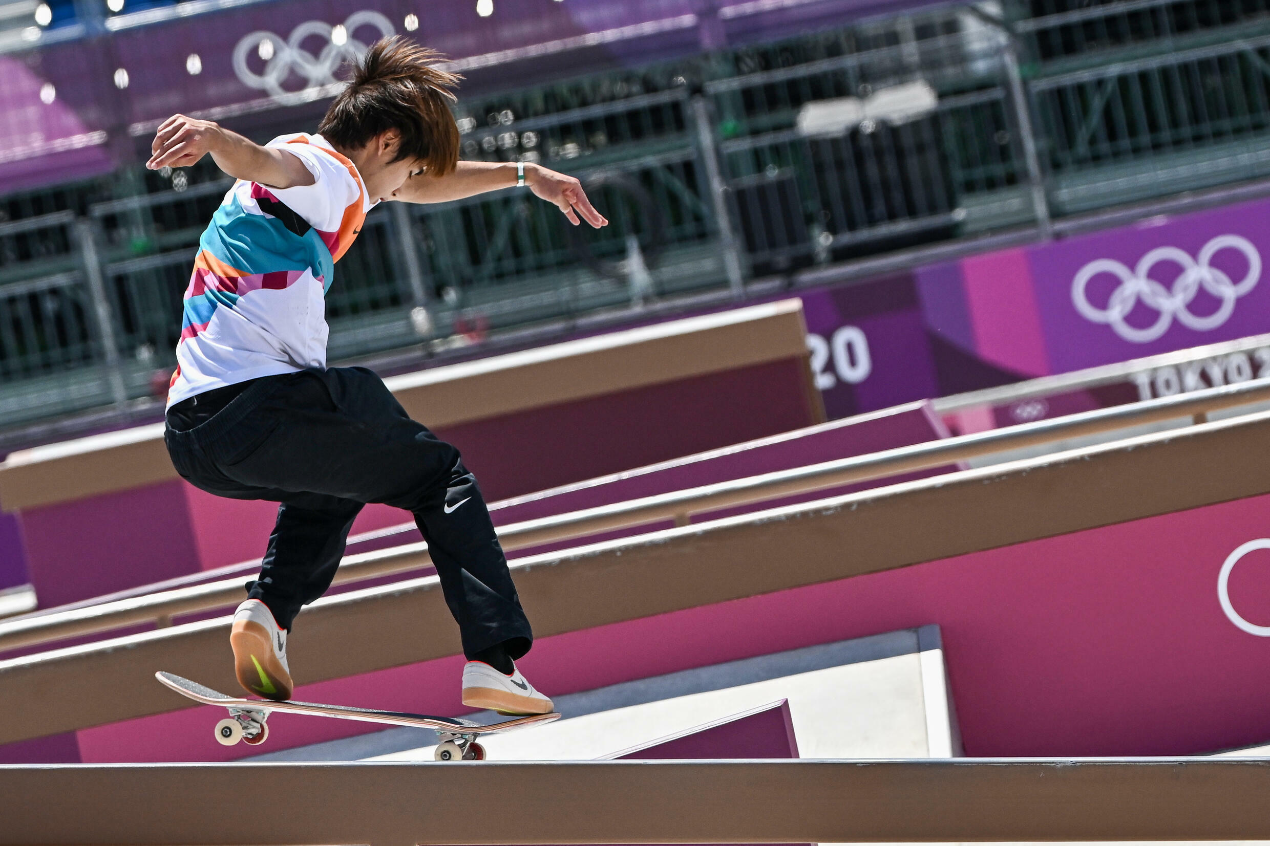 Japan's Yuto Horigome competes in the men's skateboarding street final at the Tokyo 2020 Olympic Games