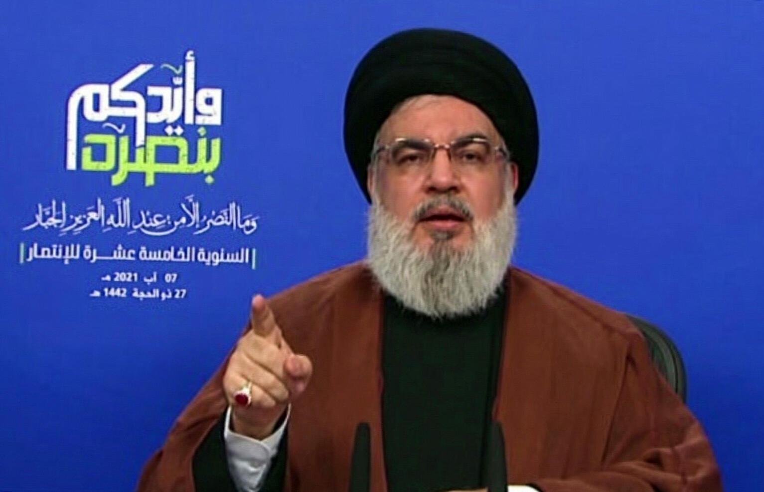 El jefe de la organización Hezbolá, Hasan Nasrallah, en su discurso del 7 de agosto de 2021.