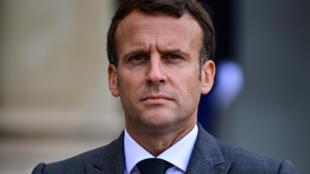 الرئيس الفرنسي إيمانويل ماكرون في قصر الإليزيه في باريس في 21 أيار/مايو 2021