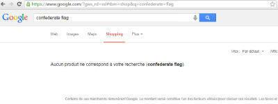 """Une recherche pour """"drapeau confédéré"""" sur la page shopping de Google"""