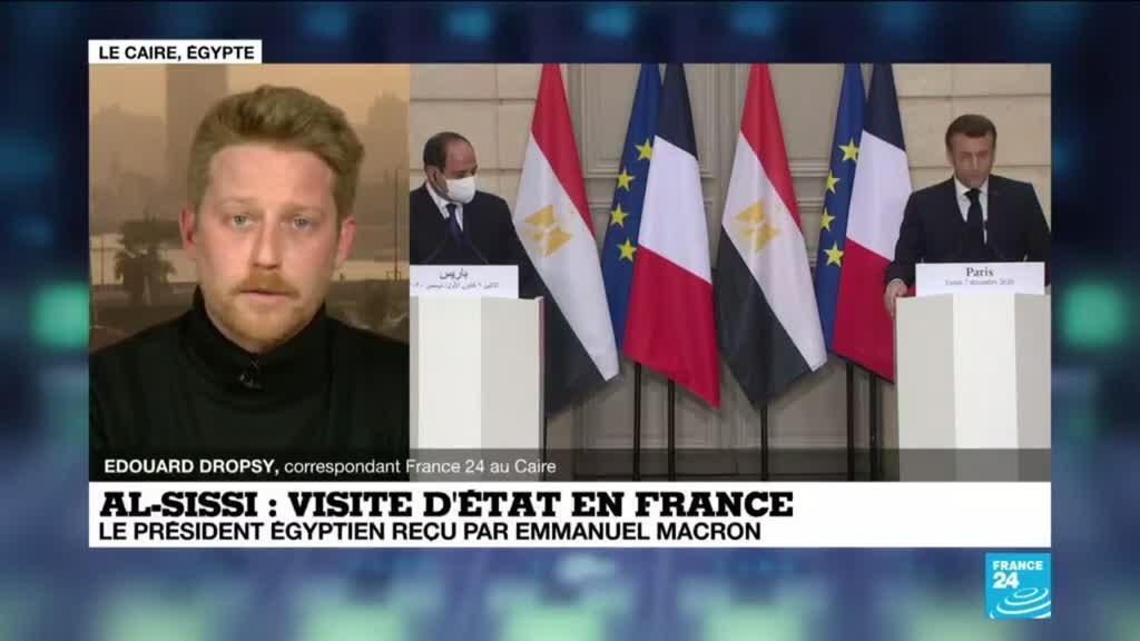 2020-12-07 15:33 Visite d'al-Sissi à Paris : E. Macron évoque les droits de l'Homme devant son homologue égyptien