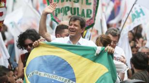 Fernando Haddad, candidat du Parti des travailleurs, est arrivé deuxième au premier tour de la présidentielle au Brésil.