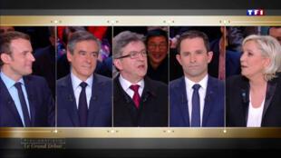 Les cinq principaux candidats à la présidentielle ont débattu pendant plus de trois heures lundi soir sur TF1, obligeant les téléspectateurs à se coucher après les douze coups de minuit.