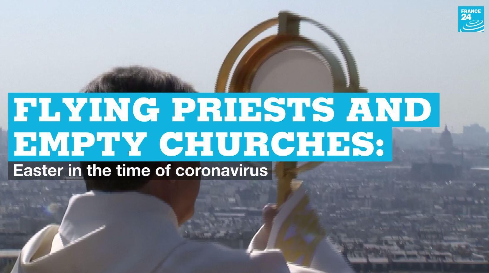 An Easter blessing is carried out by the archbishop of Paris on Thursday, April 9, 2020.