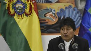Evo Morales lors de son discours, mercredi 23 octobre 2019.