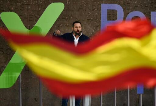 Vox leader Santiago Abascal addresses supporters during a rally in Madrid.