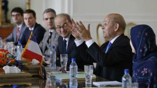 Le ministre des Affaires étrangères français Jean-Yves Le Drian, le 5 mars 2018 à Téhéran.