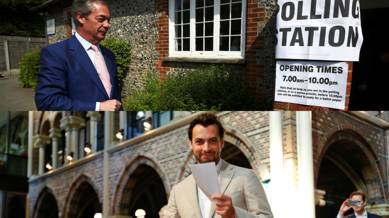 Arriba, el euroescéptico británico Nigel Farrage en el puesto de votación de Biggin Hill, Reino Unido, y abajo, el líder del partido Foro para la Democracia Thierry Baudet votando en Ámsterdam, Países Bajos el 23 de mayo de 2019.