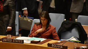 L'ambassadrice américaine à l'ONU, Nikki Haley, durant une réunion du Conseil de sécurité, mardi 10 avril, à New York.
