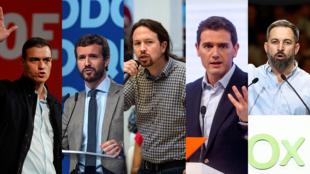 De izquierda a derecha los candidatos a la presidencia del Gobierno de España: Pedro Sánchez (PSOE), Pablo Casado (PP), Pablo Iglesias (Podemos), Albert Rivera (Ciudadanos) y Santiago Abascal (VOX)