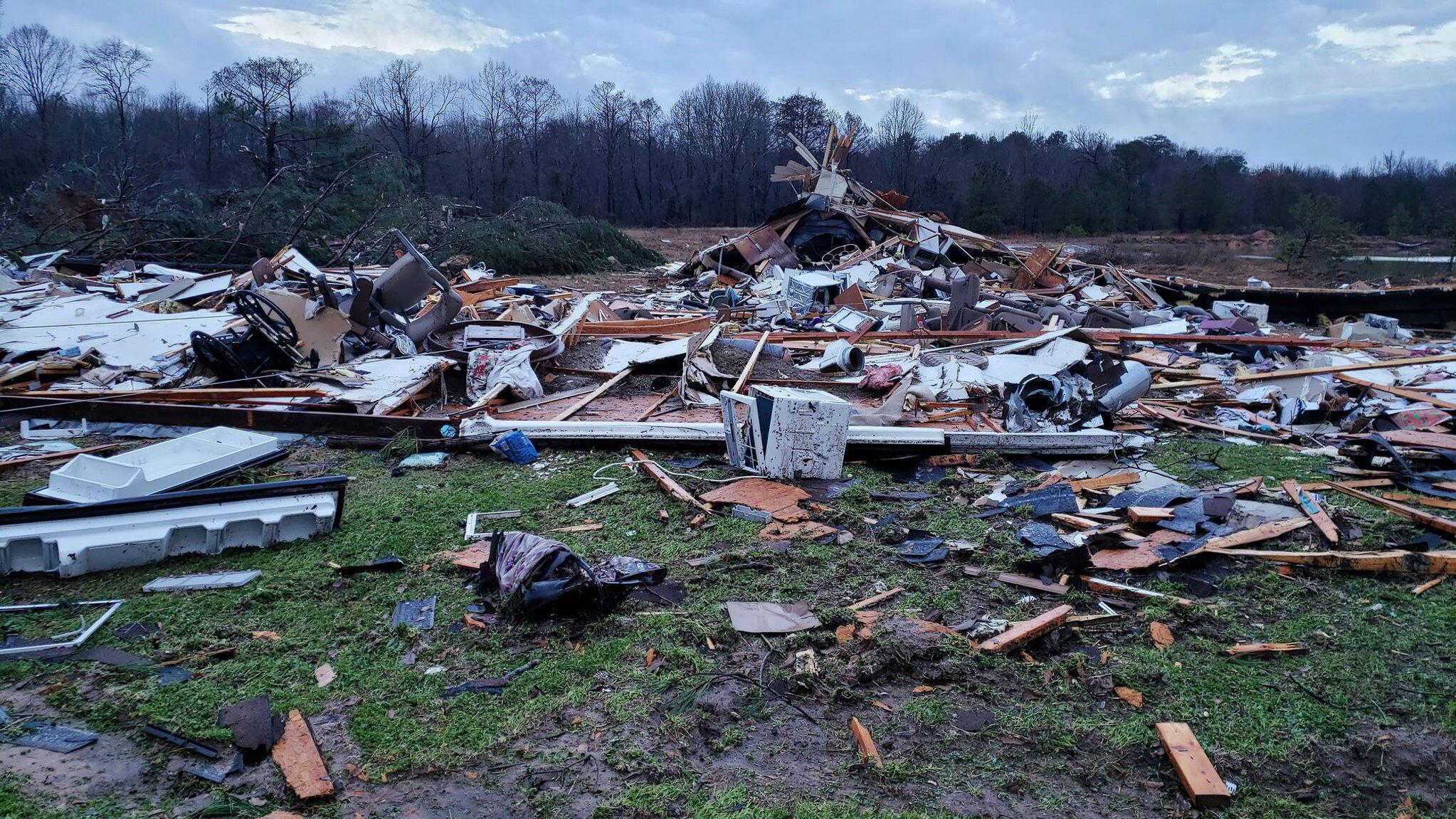 Imagen de Bossier Parish, Louisiana, en donde según el Servicio Meteorológico Nacional (NWS por sus siglas en inglés), un tornado tocó tierra con vientos de 217 kilómetros por hora. 11 de enero de 2020.
