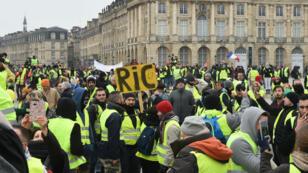 Manifestation de Gilets jaunes à Bordeaux, le 29 décembre 2018.