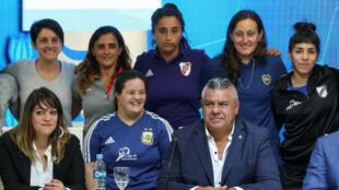 Claudio Tapia, presidente de la Asociación del Fútbol Argentino (AFA), durante la presentación de la liga de fútbol profesional femenino en Buenos Aires, Argentina, el 16 de marzo de 2019.