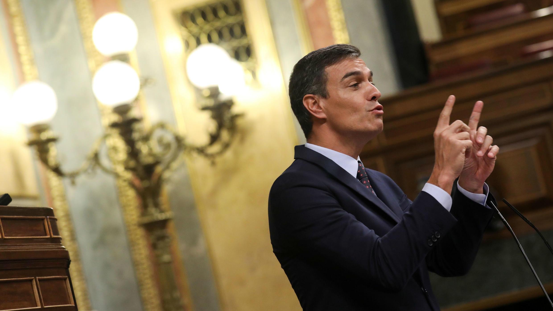 El primer ministro Pedro Sánchez interviene durante una sesión plenaria en el Parlamento en Madrid, España, el 11 de septiembre de 2019.