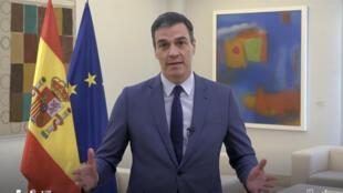 لقطة من فيديو نشره الموقع الإلكتروني لمنظمة الصحة العالمية تظهر رئيس الوزراء الإسباني بدرو سانشيز خلال اجتماع عبر الفيديو في 19 أيار/مايو 2020