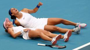 Retrouvailles heureuses pour Kristina Mladenovic et Caroline Garcia.