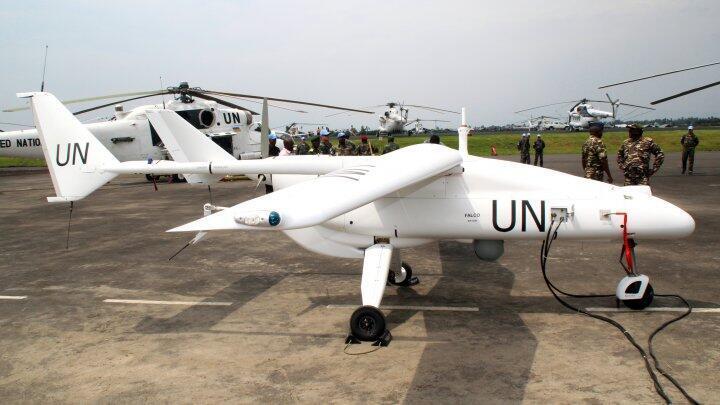 Un drone de la MONUSCO se recharge sur la base de Goma dans l'Est de la République démocratique du Congo.