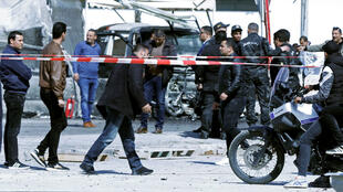 Security forces at the scene of Friday's blast near the US embassy in Tunis.